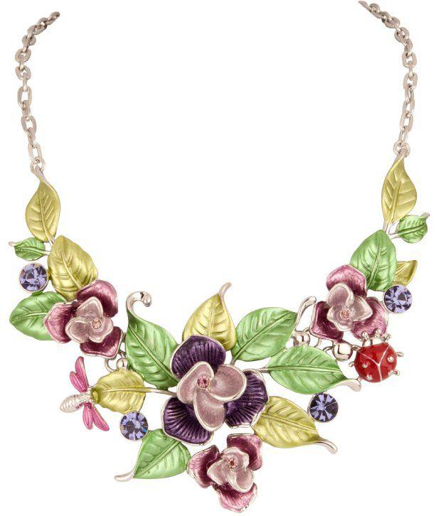 Voylla Lustrous Colourful Floral Leaf Design Necklace
