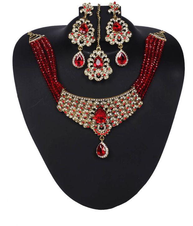 Voylla Smart Ethnic American Diamond Jewellery Set With Red Beads And Stones