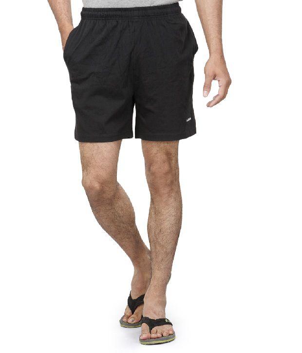 Dazzgear Black Cotton Solids Shorts