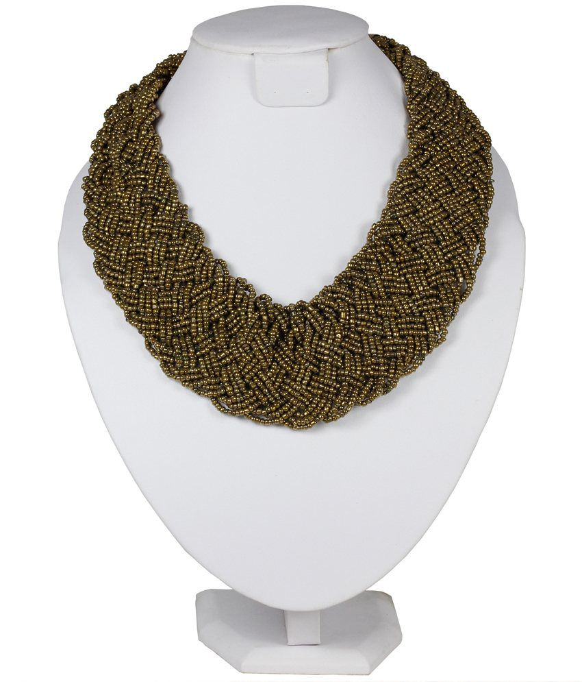 Uptown  Round Beaded Golden Necklace