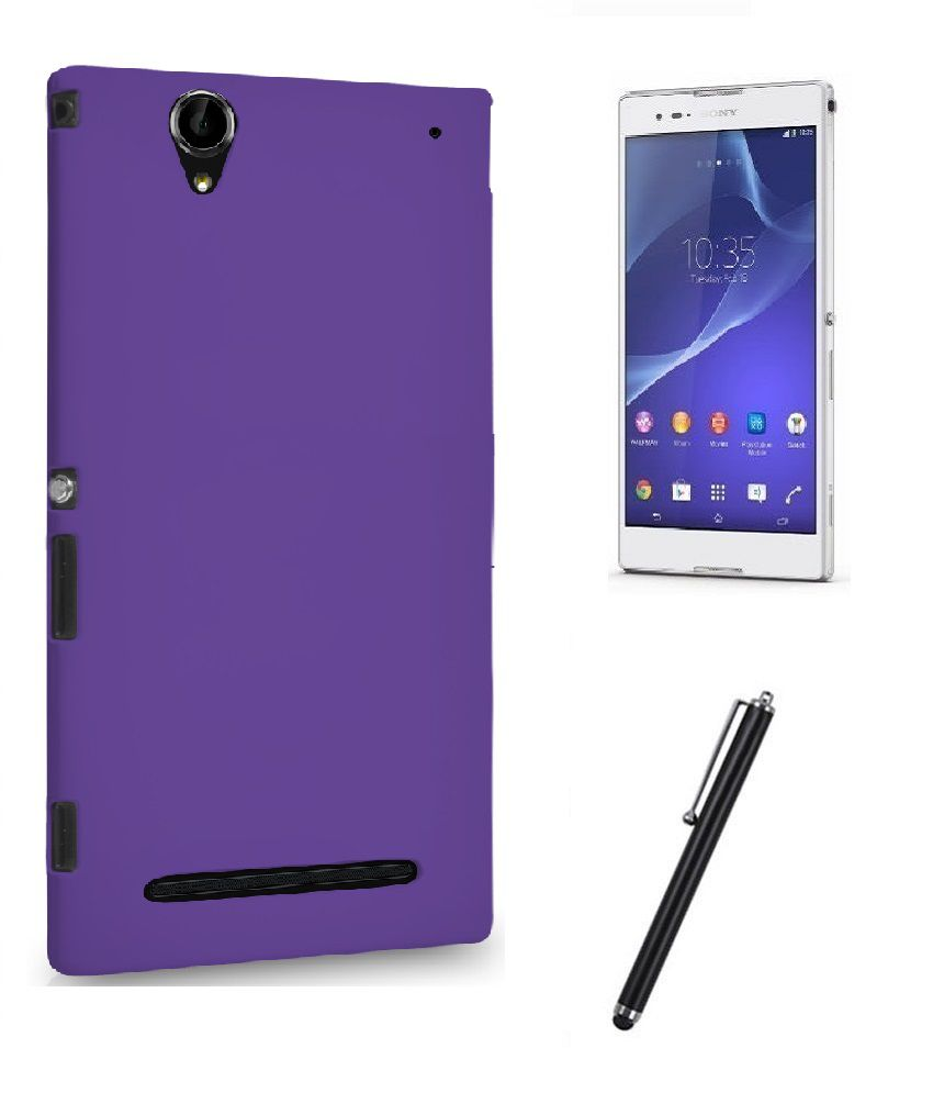 quality design 80226 53e18 Fuson Rubberized Back Cover For Sony Xperia T2 Ultra Dual (Purple) + Matte  Screen Guard + Metal Capacitive Stylus Touch Pen