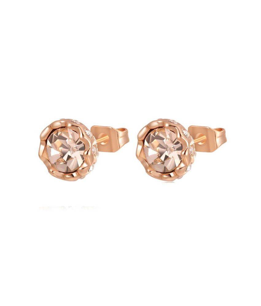 Kaizer Retro Orange Snow Lotus Gold Plated Stud Earrings