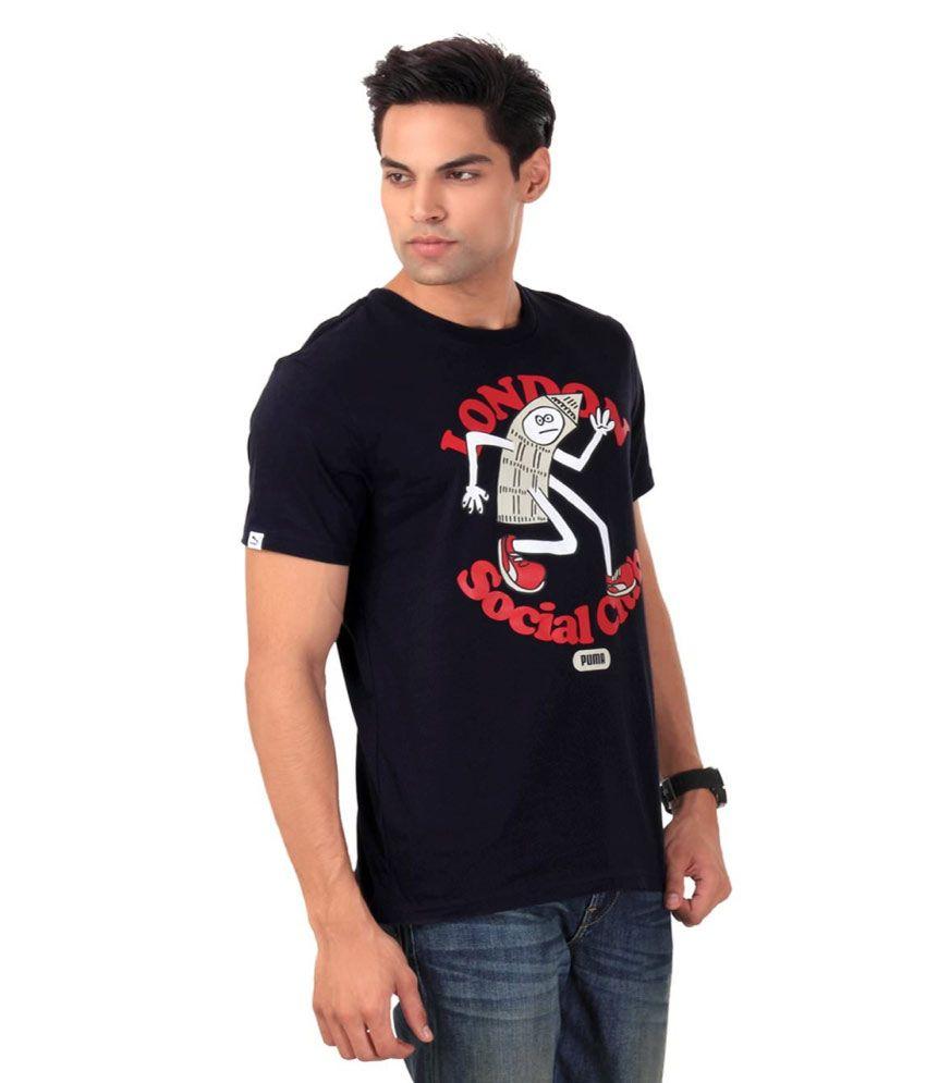 Puma Black Half Cotton Round T-Shirt