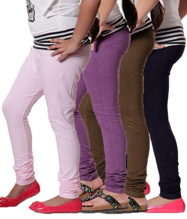 RHAM Pack Of 4 Leggings (Light  Pink, Purple, Navy & Mehandi) For  Infant Girls For Girls