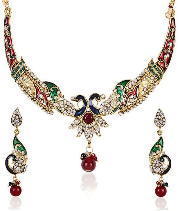 Shinning Diva Enamelled Peacock Motif Necklace Set