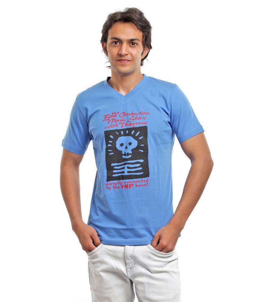 Biker Gang Blue Half Cotton V-Neck  T-Shirt
