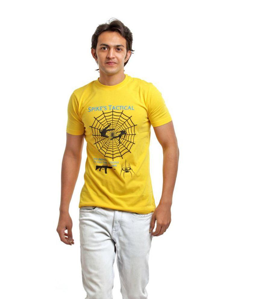 Biker Gang Yellow Half Cotton Round  T-Shirt