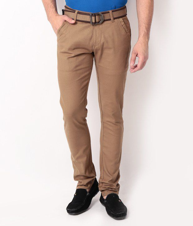 DesignRoadies Brown Slim Casuals Chinos