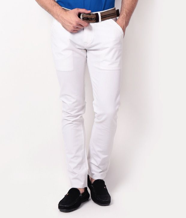 DesignRoadies White Slim Casuals Chinos