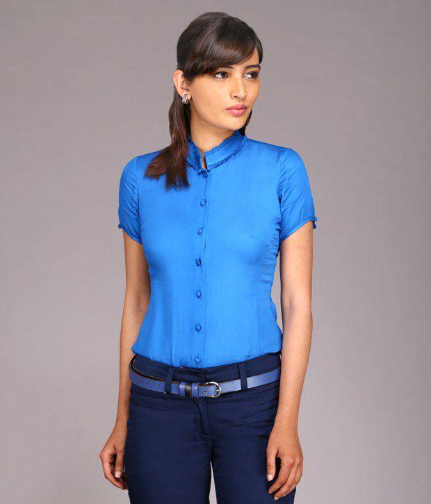 KAARYAH Blue Solids Rayon Half Regular Collar Shirts