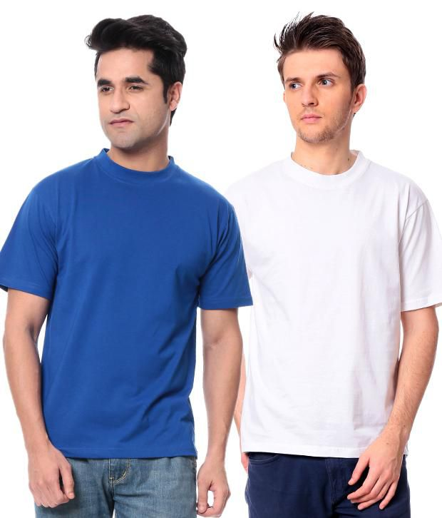 Leana Rblue- White Pack Of 2 Round Neck T Shirts