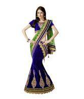 Triveni Blue Embroidered Net Unstitched Lehenga