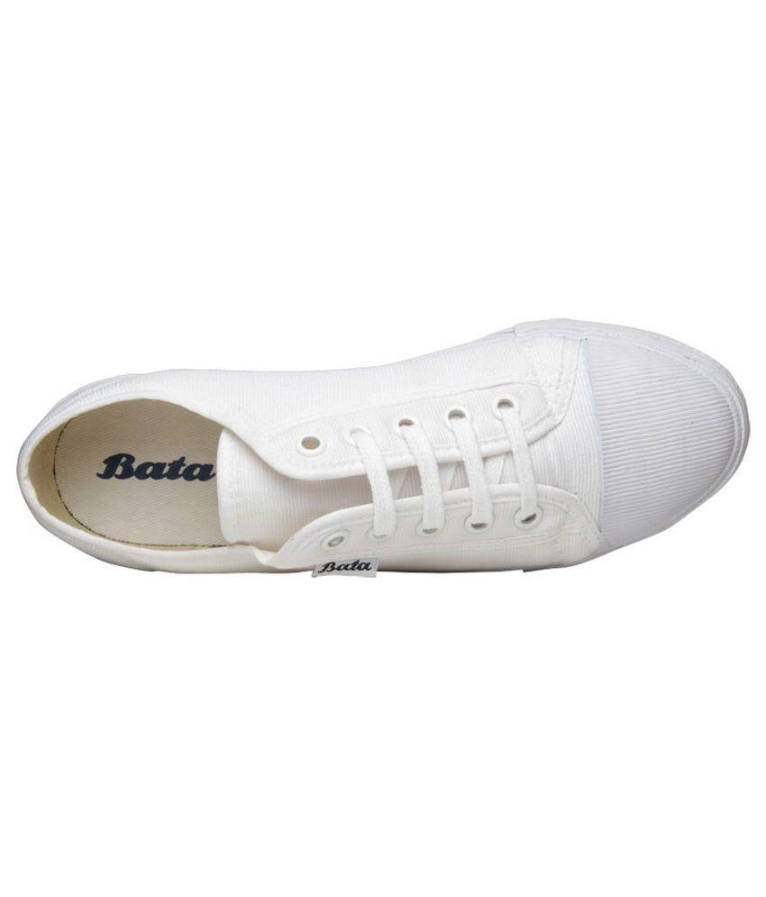 32e73eb374f Bata White Canvas Shoes - Buy Bata White Canvas Shoes Online at Best ...