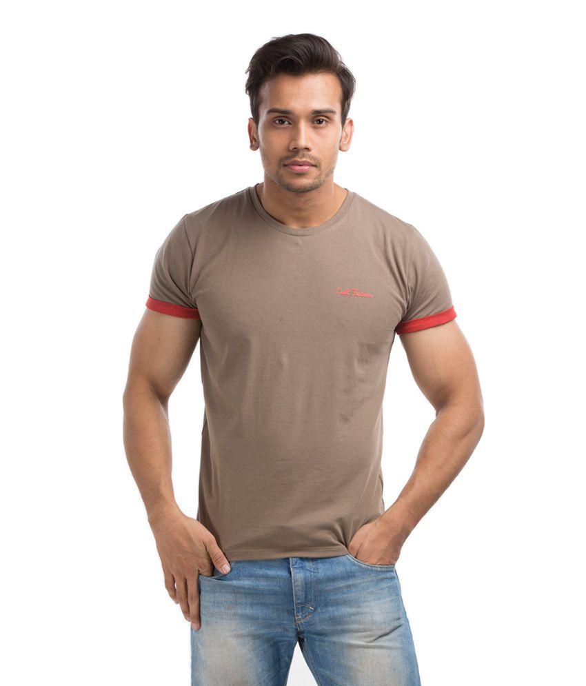 Cult Fiction Brown Half Cotton Round T-Shirt