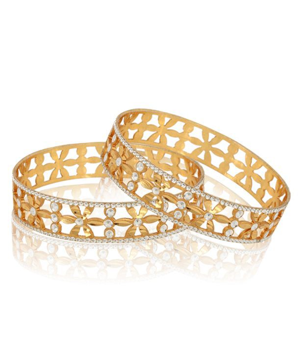 Jewels Galaxy Gold And Silver Plated Cut-work Designed Pair Of Bangles