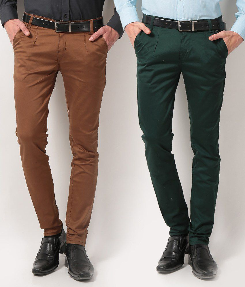 Vam Jeans Brown Green Slim Casuals Combo Of 2 Chinos Chinos