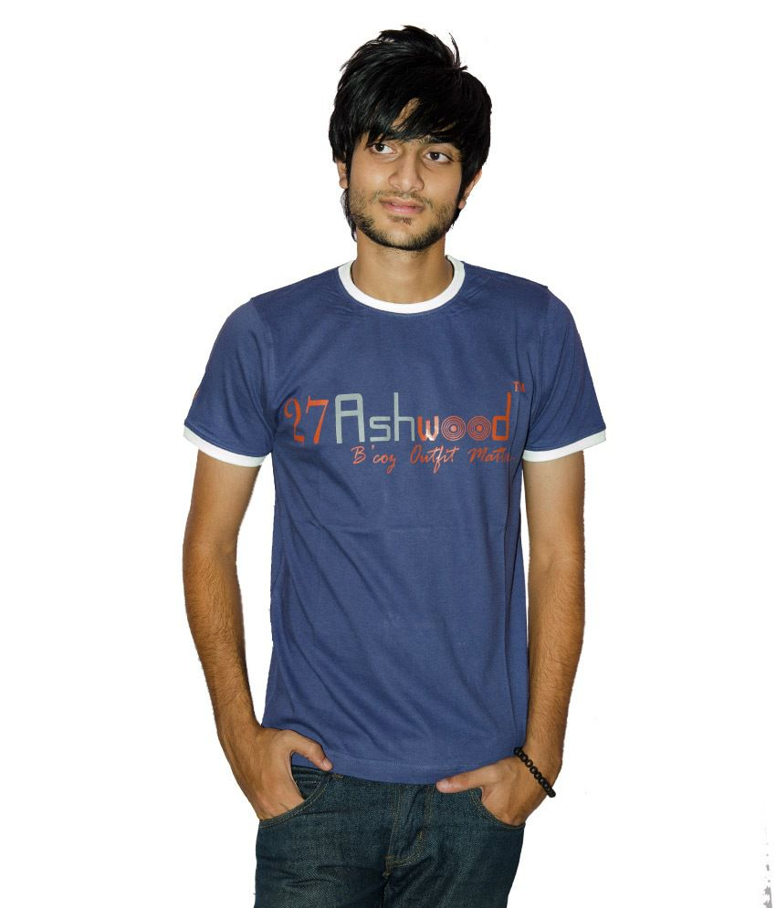 27Ashwood Blue Half Cotton Round T-Shirt