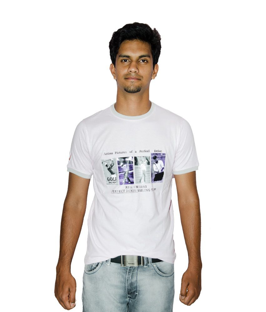27Ashwood White Half Cotton Round T-Shirt