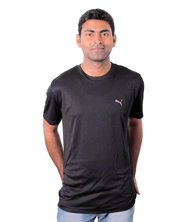 Puma Black Half Polyester Round T-Shirt