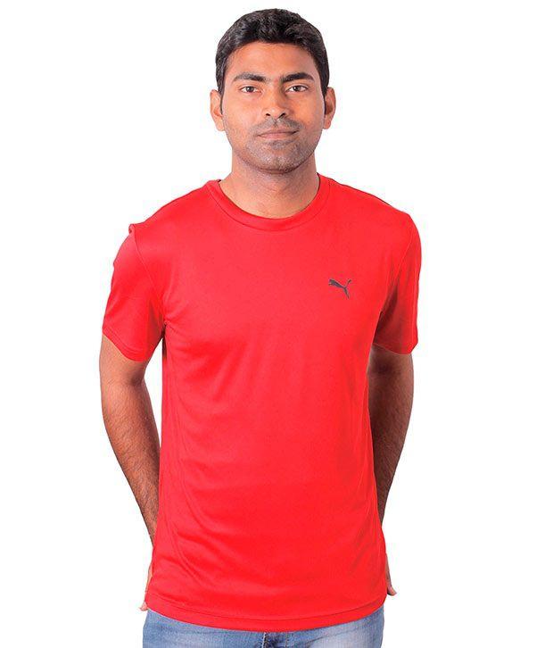 Puma Red Half Polyester Round T-Shirt