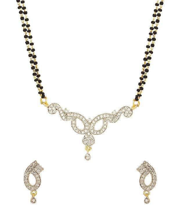 Voylla Double Chain Cz Studded Mangalsutra Set With Loop Design, Gold Plating