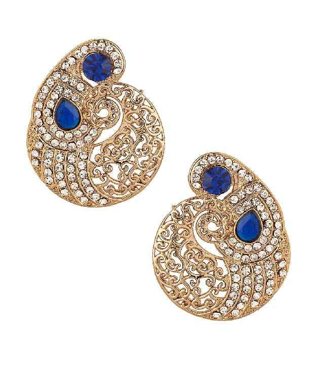 Voylla Gold Plated Pair Of Paisley Design Earrings With Beautiful Cut-Work, Blue Cz Stones
