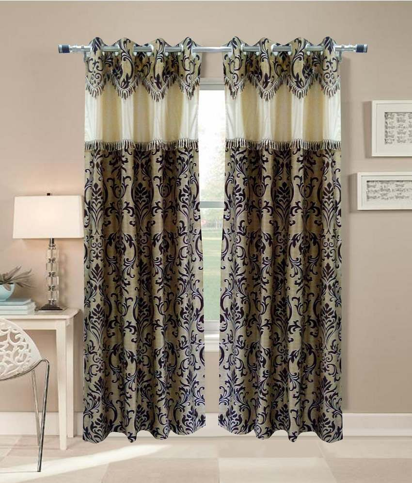 Homefab India Set Of 2 Door Eyelet Curtains Embroidered