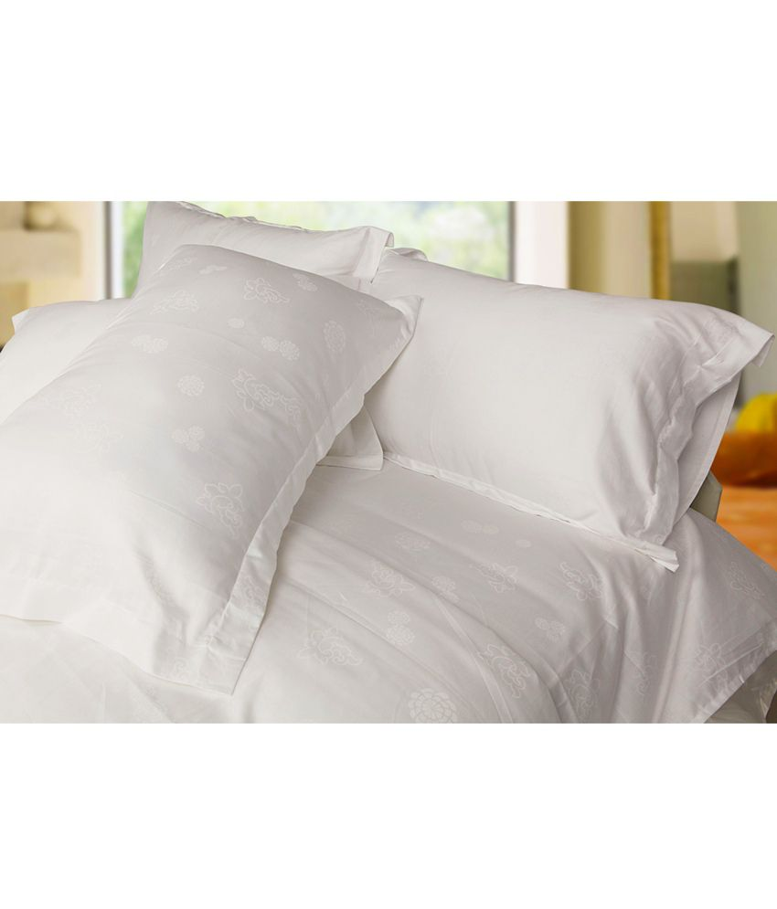 Just Linen Queen Size Luxurious White Cotton Damask Fitted Bed Sheet