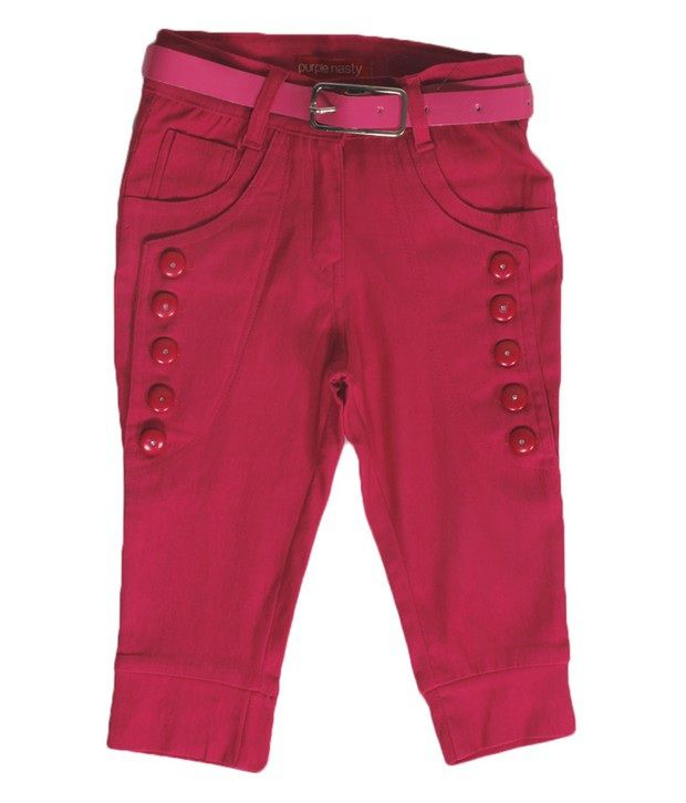Purple Nasty Pink Color Solid Capri For Kids