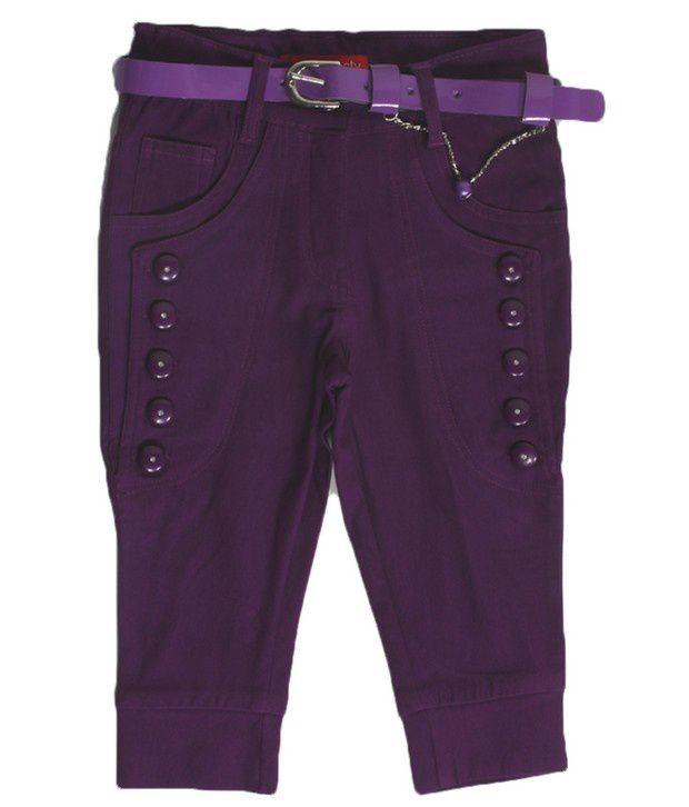 Purple Nasty Purple Color Solid Capri For Kids