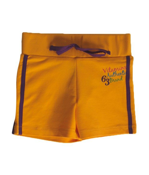 Vitamins Mango Color Solid Shorts For Kids