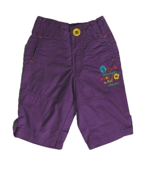 Vitamins Purple Color Solid Capri For Kids