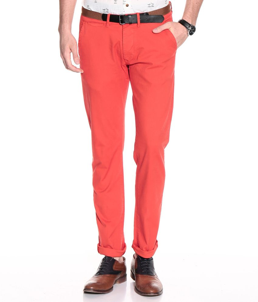 Jack & Jones Red Slim Casuals Chinos