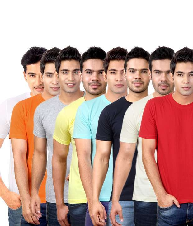 Street Junkies Multi Half Combo Of 8 Round Neck T Shirts Cotton Round  T-Shirt