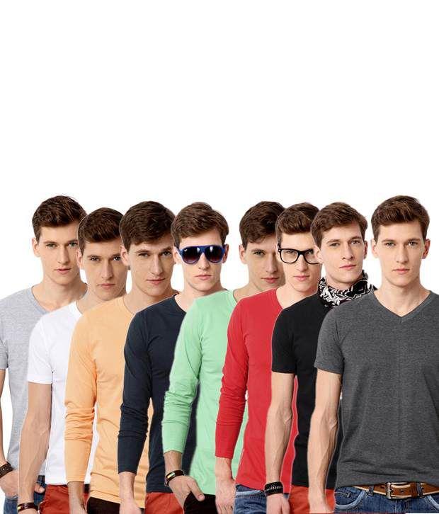 Street Junkies Multi Half and Full Combo Of 8 V-Neck T Shirts Cotton V-Neck  T-Shirt