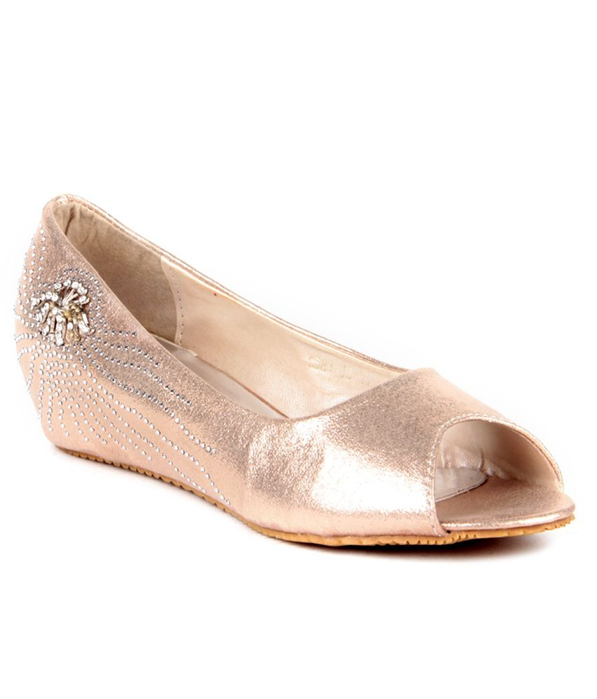 Anand Archies Gold Wedges Heeled Slip-On