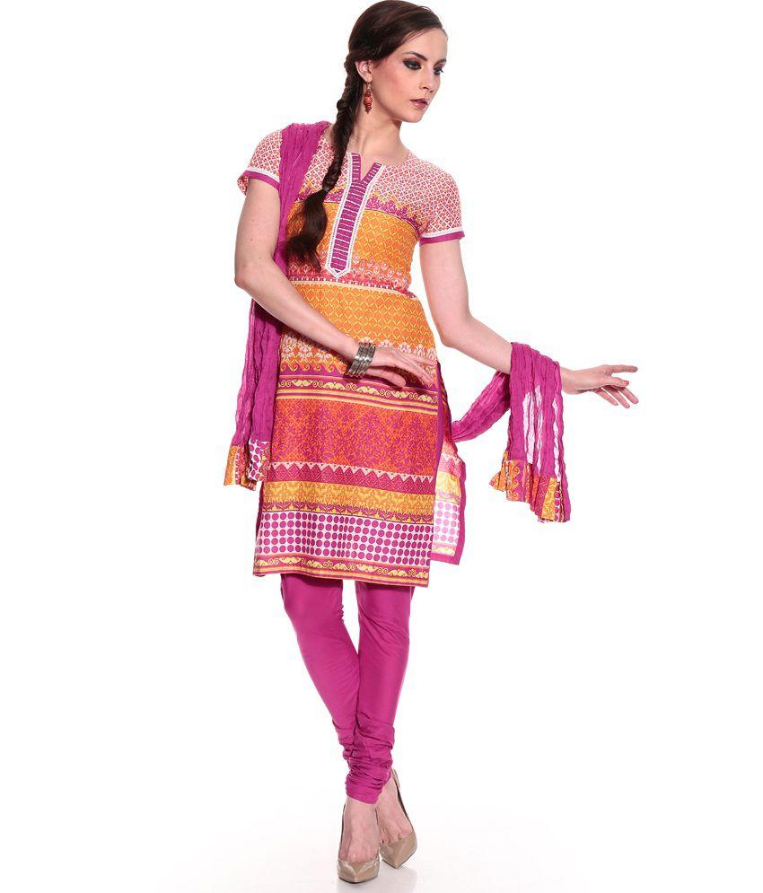 Biba Pink Printed Cotton Stitched A Line Salwar Suit