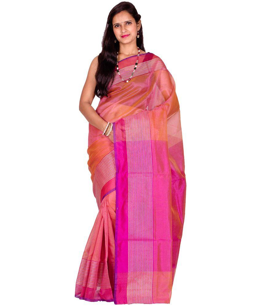 Chandrakala Pink Faux Organza Saree