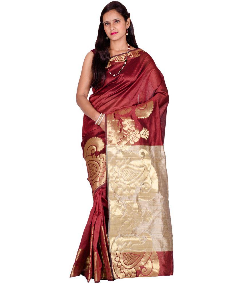 Chandrakala Maroon Cotton Saree