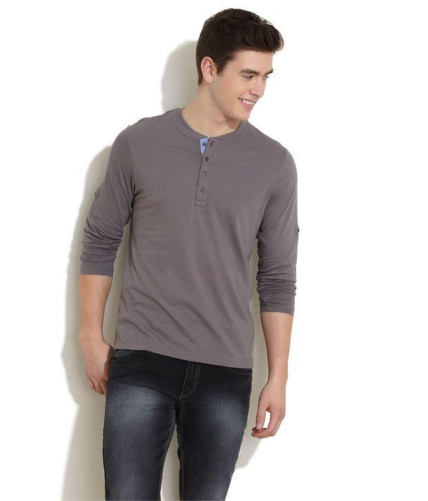 Freecultr Gray Full Cotton Henley T-Shirt