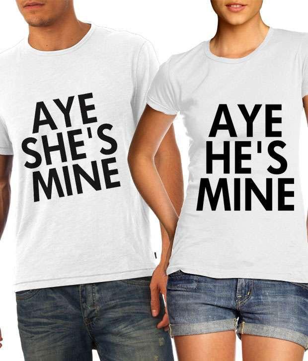 Buy he 39 s mine she 39 s mine in white couple t shirts online for Buy couple t shirts online india