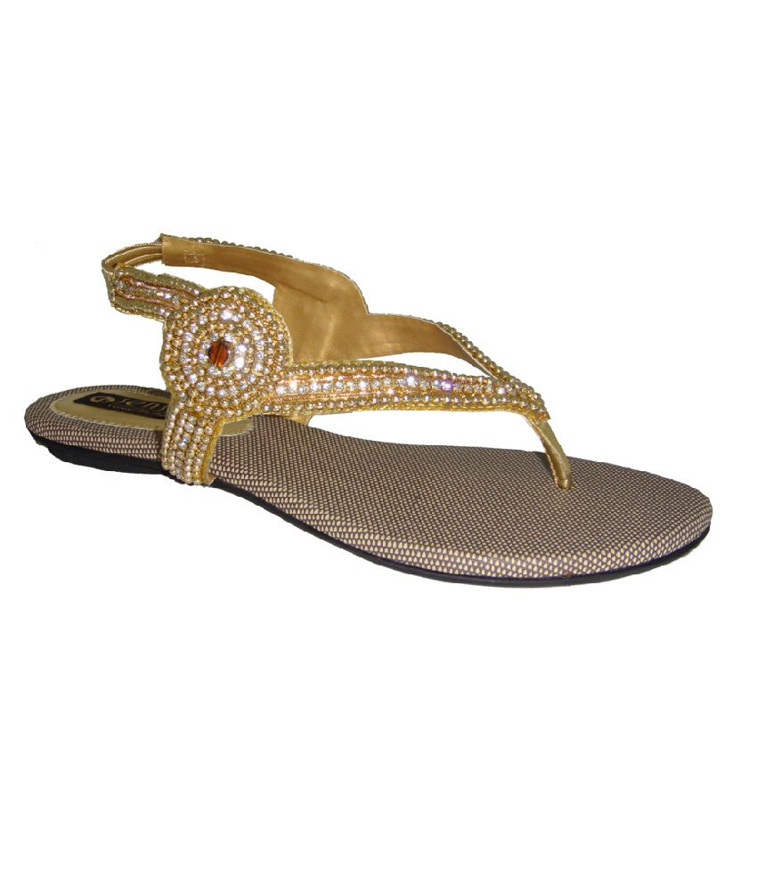 aa329f9f9345 Ladies Simple   Studded Fancy Gold Sandals Price in India- Buy Ladies Simple    Studded Fancy Gold Sandals Online at Snapdeal