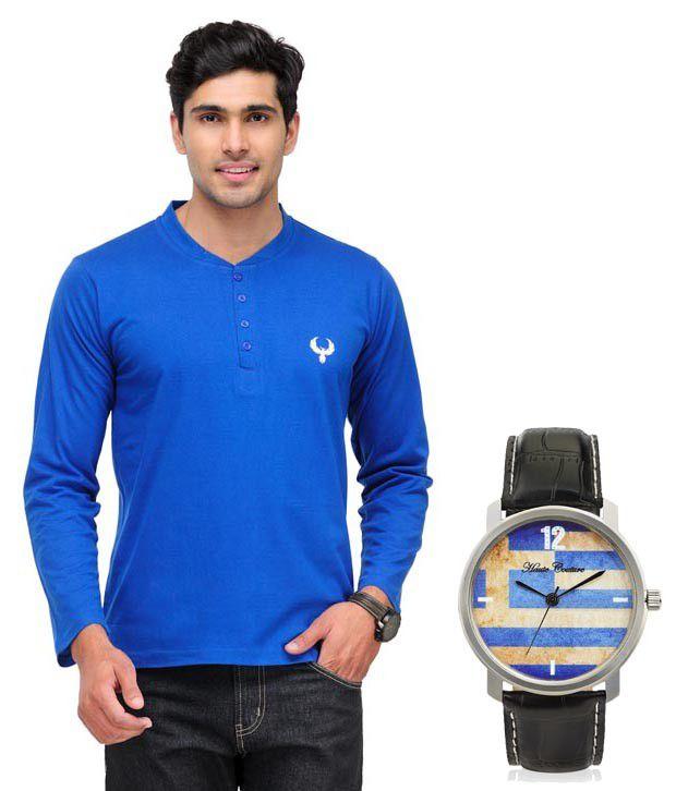 Phoenix Blue Full Cotton Henley  T-Shirt