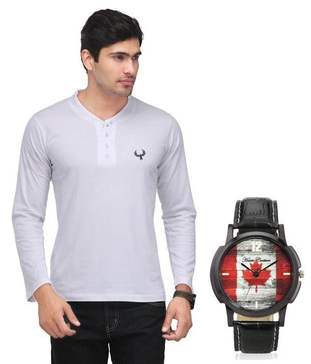 Phoenix White Full Cotton Henley  T-Shirt