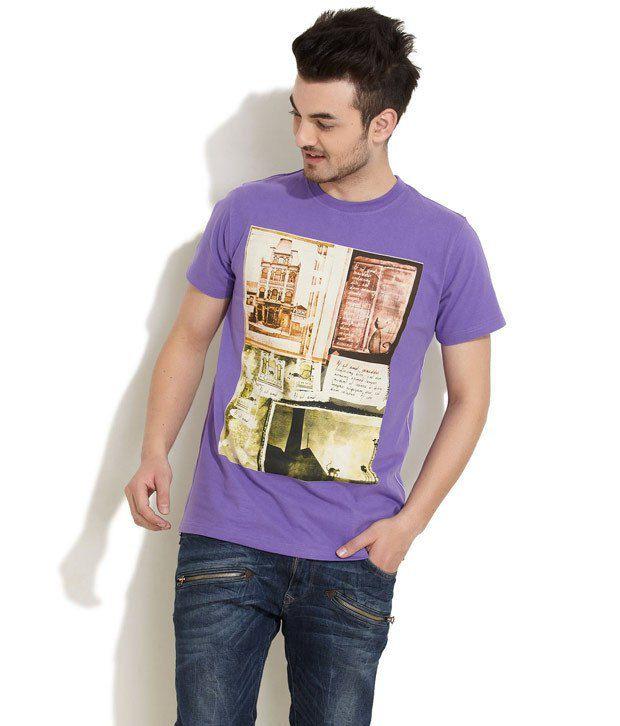 Riot Purple Half Cotton Round T-Shirt
