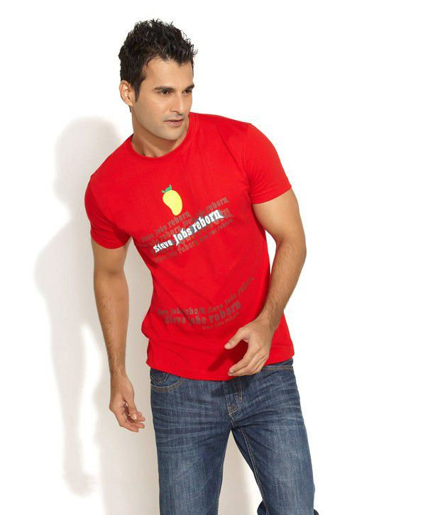 Witty Or Wise Red Half Cotton Round T-Shirt
