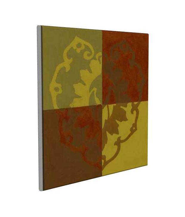 Artjini Block Print II Multicolour Canvas, Frame - Wood Paintings-Abstract
