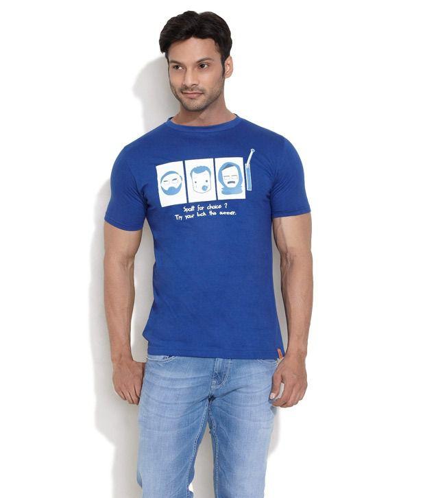 I Am Aam Blue Half Cotton Round T-Shirt
