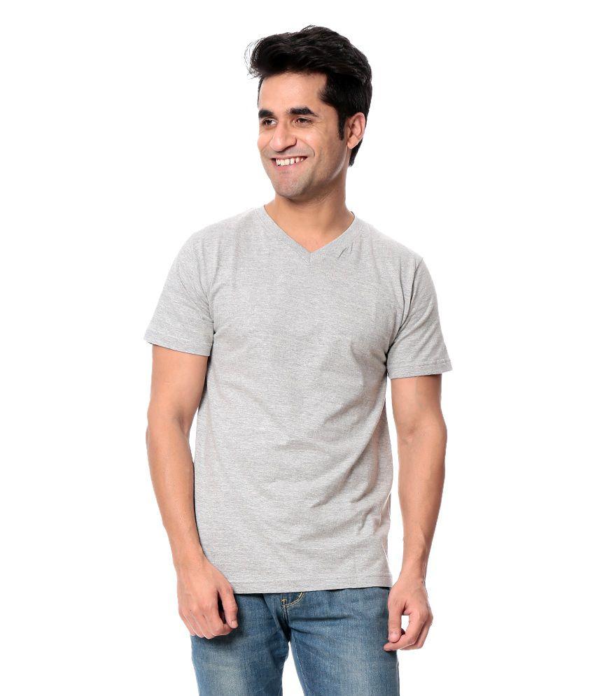 Comoros Gray Half Cotton V-Neck  T-Shirt