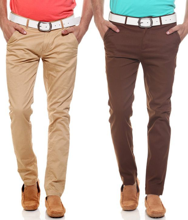 Fashion Beige Regular Casuals Chinos